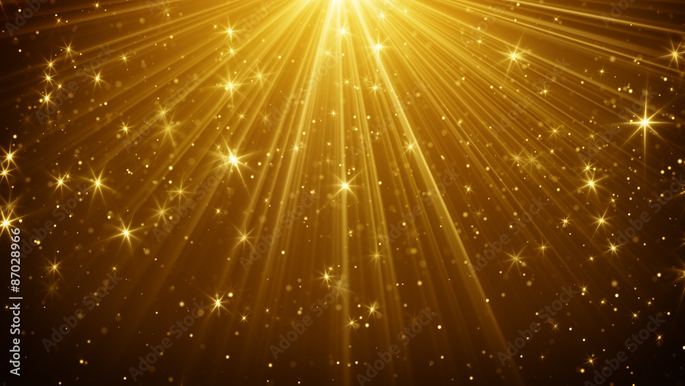 Fototapety, obrazy: gold light rays and stars abstract background