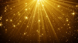 gold light rays and stars abstract background