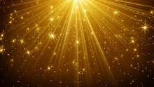 Gold Light Rays And Stars Abst...