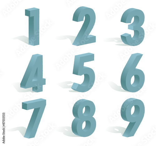 Fotografía  9 numbers in 3D with shadow on white background