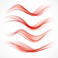 Set Of  Wavy Red Banners. Vector Illustration