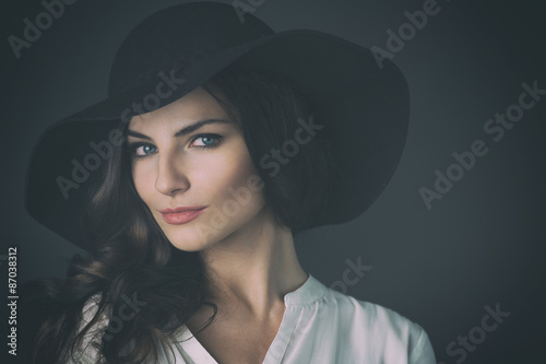 Fotografie, Obraz  Beautiful Russian Woman on Seamless Background