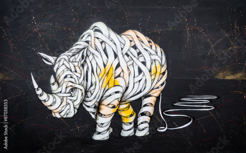 Acrylic Prints Graffiti Rhinoceros tag