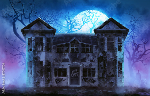 Fotografie, Obraz  Old wooden grungy dark evil haunted house with evil spirits with full moon cold fog atmosphere and trees illustration