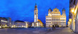 Leinwanddruck Bild - Augsburg Nacht Panorama Rathausplatz