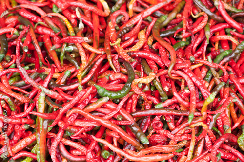 Wall Murals Hot chili peppers Red pepper drying outdoors