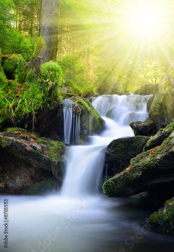 Recess Fitting Waterfalls Waterfall in the national park Sumava-Czech Republic