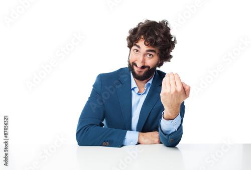 Photo  happy businessman come here concept