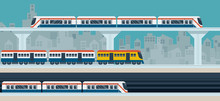 Train, Sky Train, Subway, Illustration Icons Objects