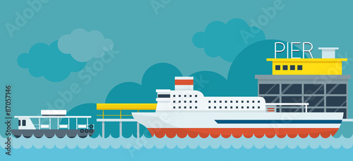 Fotografía Ferry Boat Pier Flat Design Illustration Icons Objects
