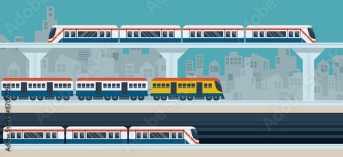 Train, Sky Train, Subway, Illustration Icons Objects