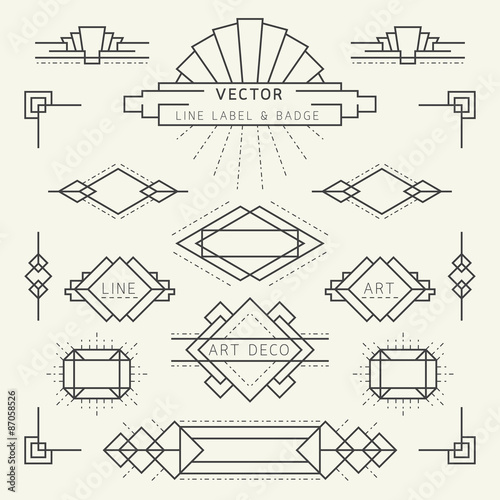 Photo  Art Deco Style Line and Geometric Labels and Badges Monochrome