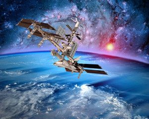 FototapetaEarth satellite space station spaceship orbit sci fi landscape. Elements of this image furnished by NASA.