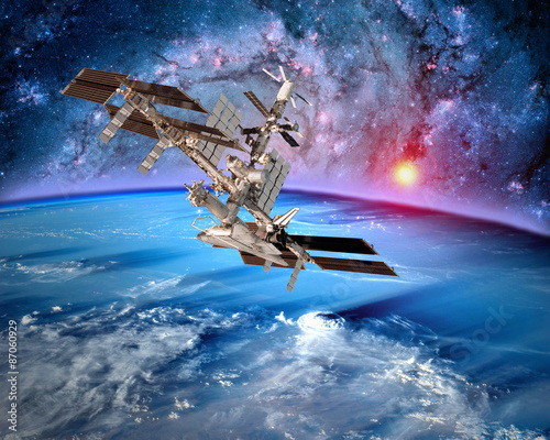 Deurstickers Nasa Earth satellite space station spaceship orbit sci fi landscape. Elements of this image furnished by NASA.