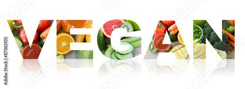 Fotografie, Obraz  vegan word of fruits and vegetables background