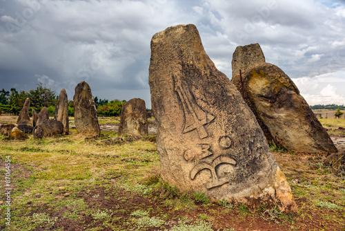 Photo  Megalithic Tiya stone pillars, Addis Ababa, Ethiopia