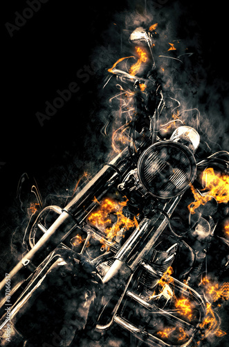 Burning motorbike. Fire illustration.