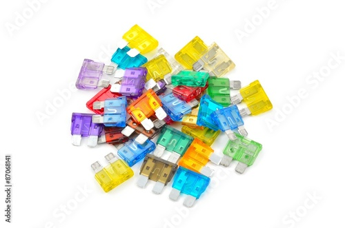 Car fuse  Pile od colorful electrical automotive fuses or