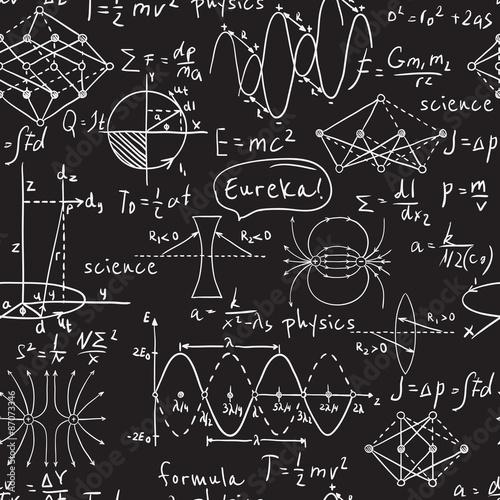Wzory fizyczne, grafika i obliczenia naukowe na tablicy. Vintage ręcznie rysowane ilustracji laboratorium wzór