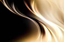Gold Brown Fractal Waves Art Abstract Background