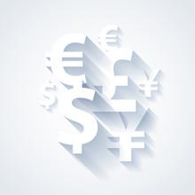 Currencies Symbols Paper White...