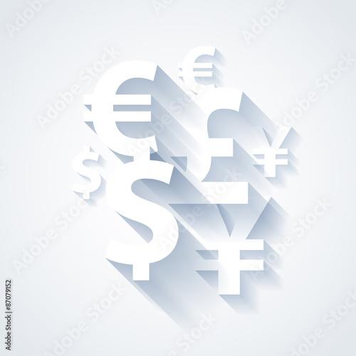Currencies symbols paper white background. Canvas Print