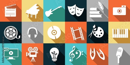 Fotografía  set of icons dedicated to arts: painting, music, literature, ballet, theater and cinema