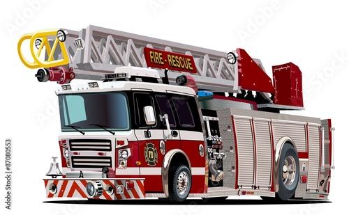Valokuva Vector Cartoon Fire Truck