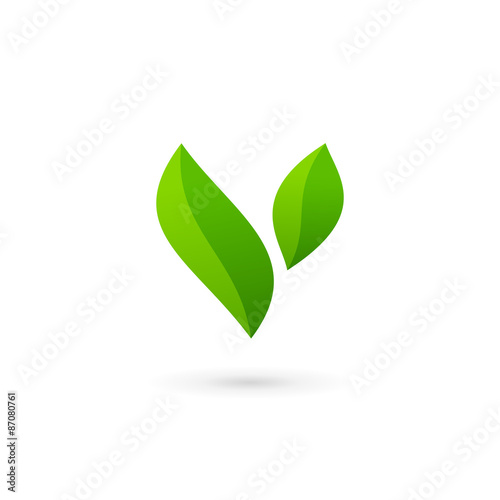 letter v eco leaves logo icon design template elements buy this