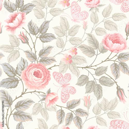 Fototapeta kwiatowy wzór z róż i motyli