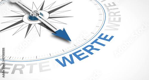 Fotografie, Tablou  Kompass mit dem Wort WERTE