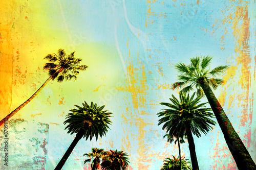 California Beach Art Palm Trees Background