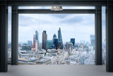 Fototapeta Londyn - interior space of modern empty office interior with london city