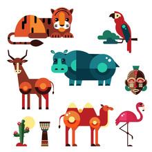 Geometric Flat Africa Animals ...