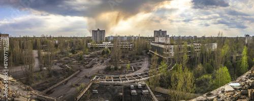 Fotografie, Obraz  Chernobyl - Wide angle view of Pripyat
