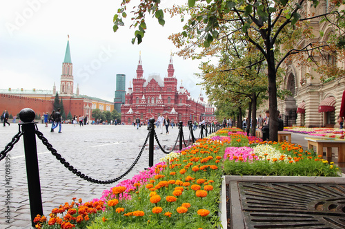 Photo  View of Red Square and the building of the Historical Museum..