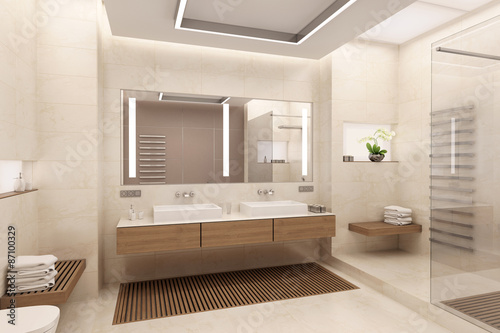 Fotografia, Obraz  3D rendering of bathroom