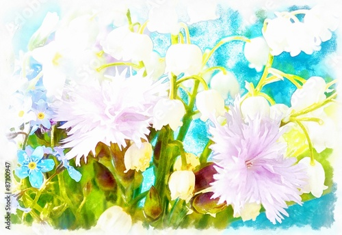 Beautiful miscellaneous flower, Watercolor painting, pc collage. - 87100947