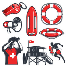 Set Of Vintage Lifeguard Eleme...