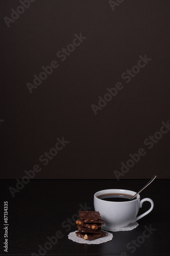 Photo Stands Coffee beans Chocolate, Black Coffee In White Cup
