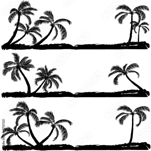 palm black silhouette. Vector illustration Wall mural