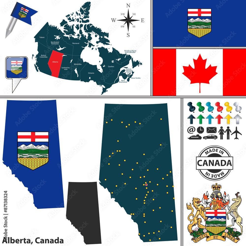 Photo & Art Print Map of Alberta, Canada   EuroPosters