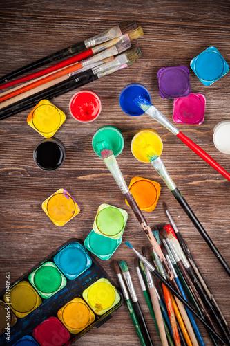 Fototapeta Colors, Watercolors and brushes obraz na płótnie
