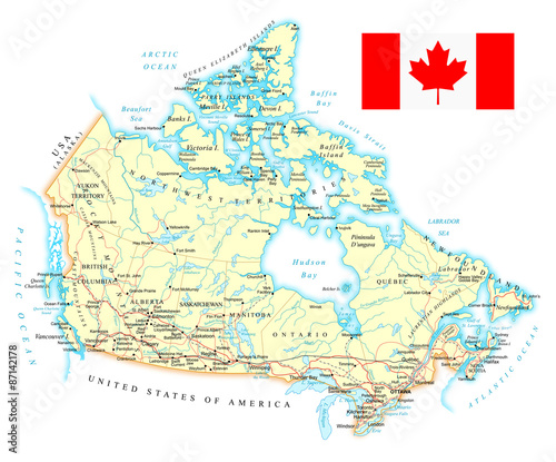 Canada - detailed map - illustration Wallpaper Mural