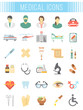 Set of vector flat icons related to subject of medicine, first aid, transportation of patient, health care, insurance, medical treatment, medicines and hospital personnel. Conceptual symbols on white