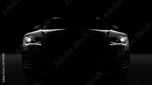 Computer generated image of a sports car, studio setup, on a dark background Wallpaper Mural
