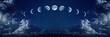Leinwandbild Motiv Nine phases of the full growth cycle of the moon