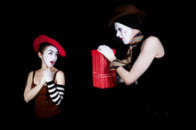 Mime Gives  Gift In  Red Box