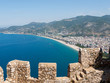 Castle of Alanya built on rocks and beach of Cleopatra, Antalya, Turkey