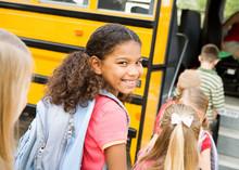 School Bus: Cute Girl Getting ...